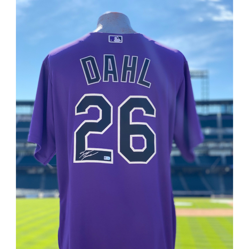 Photo of Colorado Rockies Autographed Purple Jersey: David Dahl - Choose your Size!