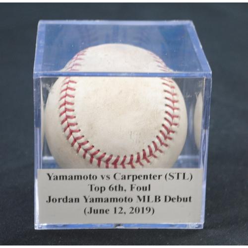 Photo of Game-Used Baseball: Jordan Yamamoto vs Matt Carpenter (STL), Top 6th, Foul (June 12, 2019)