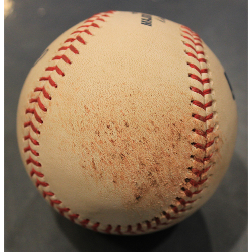 Photo of Game-Used Baseball: Jorge Lopez Pitched Strikeout to DJ Stewart (BAL @ KC - 8/31/19)