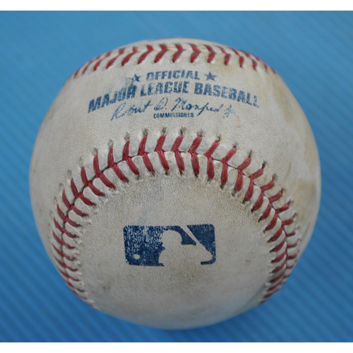 Photo of Game-Used Baseball - 2020 NLCS - Atlanta Braves vs. Los Angeles Dodgers - Game 7 - Pitcher: Dustin May, Batter: Travis d'Arnaud (Grounds into 6-4-3 Double Play) - Top 1