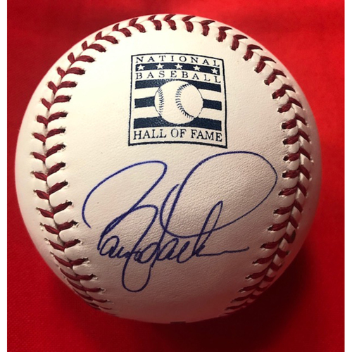 Photo of Barry Larkin Signed Baseball Hall of Fame Logo Baseball