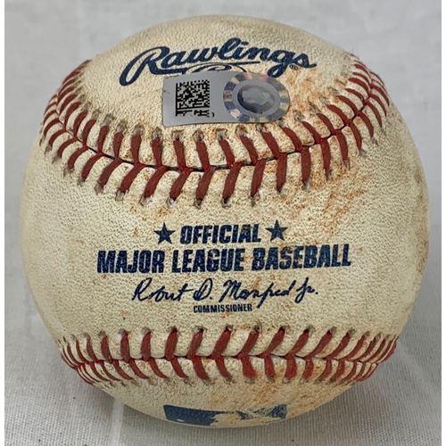 Photo of 2019 Game-Used Baseball - Pitcher: Justin Verlander, Batter: Miguel Cabrera - Ground Out Top 7 - 8/21/19