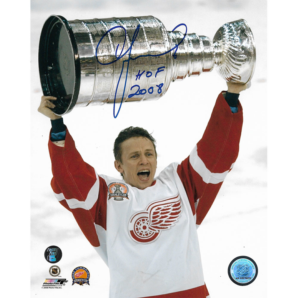 Igor Larionov Autographed Detroit Red Wings 8X10 Photo w/HOF 2008 Inscription