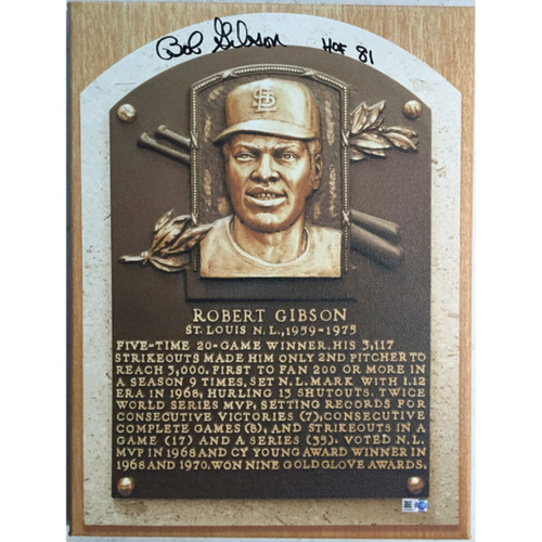 Photo of Cardinals Authentics: Bob Gibson Hall of Fame Autographed Canvas