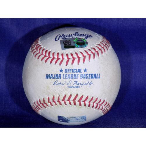 Game-Used Baseball: George Springer/Jose Altuve AB, Springer reaches on a fielding error by shortstop Elvis Andrus, Evan Gattis scores, Altuve Fouls Off Pitch 3