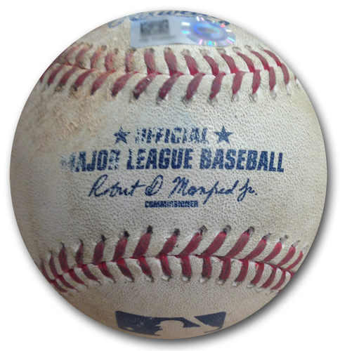 Photo of Game-Used Baseball -- Wei-Yin Chen to Addison Russell, 91.3 MPH Four-Seam Fastball, Double, Bot 3 -- Kris Bryant 100th Career Home Run Game -- Marlins vs. Cubs -- 5/9/18