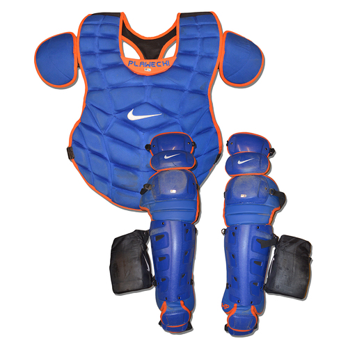 Photo of Kevin Plawecki #26 - Team Issued Catcher Set - Includes Chest Protector and Shin Guards - 2018 Season