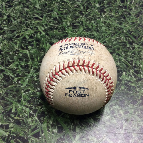 Photo of Game-Used Baseball NLCS Game 1 LAD@MIL 10/12/18 - Clayton Kershaw - Lorenzo Cain: Single