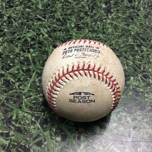 Photo of Game-Used Baseball NLCS Game 1 LAD@MIL 10/12/18 - Clayton Kershaw - Lorenzo Cain: Single