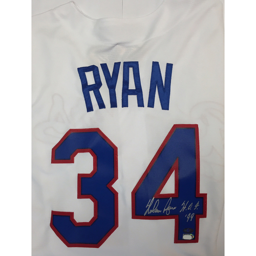 "Photo of Nolan Ryan ""HOF 99"" Autographed Rangers Jersey - Cooperstown Collection"