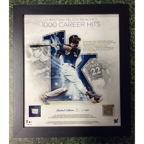 "Photo of Christian Yelich 2019 Commemorative ""1,000th Career Hit"" Framed Piece with Game-Used Dirt and Game-Used Baseball Swatch - Limited Edition of 100"