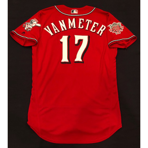 "Photo of Josh VanMeter -- Game-Used ""Los Rojos"" Jersey (Pinch Hitter) -- D-backs vs. Reds on 9/6/19 -- Jersey Size 44"