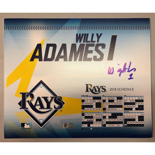 Photo of Game Used Autographed Locker Tag: Willy Adames - ROOKIE SEASON - September 27, 2018 v NYY
