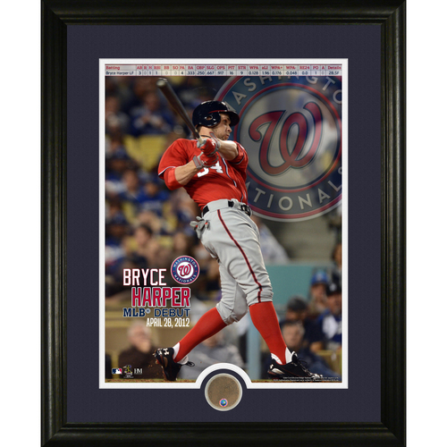 Photo of Serial #1! MLB Auctions Exclusive - Bryce Harper MLB Debut Game Used Dirt Commemorative Frame