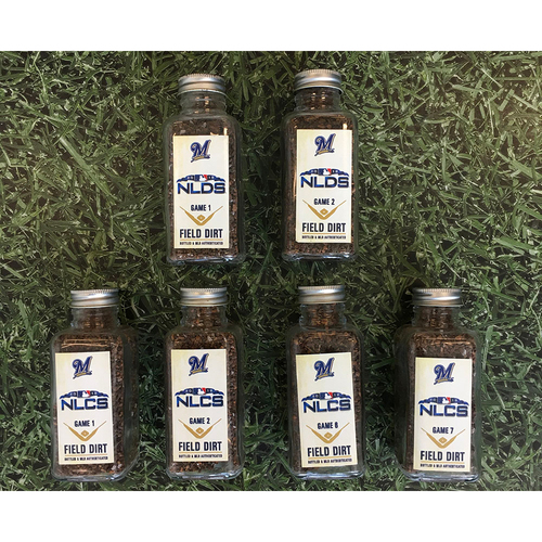 Photo of Game-Used Bottled Dirt - Set of 2018 Postseason Home Games (NLDS Games 1 & 2; NLCS Games 1, 2, 6 & 7)