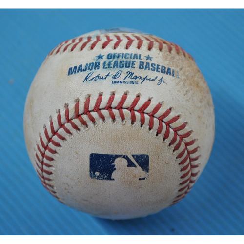 Photo of Game-Used Baseball - 2020 NLDS - Miami Marlins vs. Atlanta Braves - Game 1 - Pitcher: Sandy Alcantara, Batter: Austin Riley (Single to RF) - Bot 4