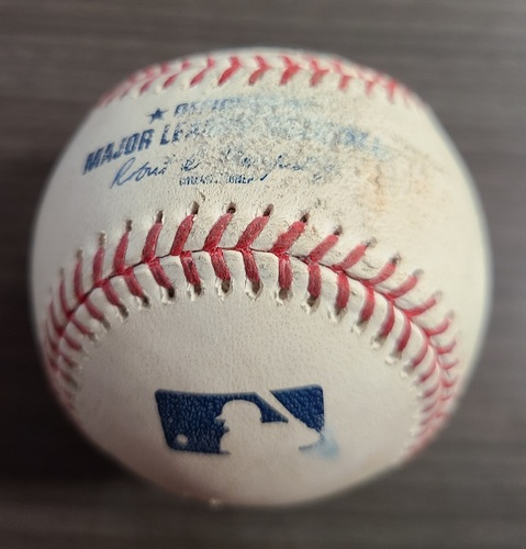 Photo of Authenticated Game Used Baseball: Foul by Bo Bichette against Jordan Montgomery (Sep 24, 2020 vs NYY). Bottom 3. Game played in Buffalo. Blue Jays Clinched Postseason Berth in Game.