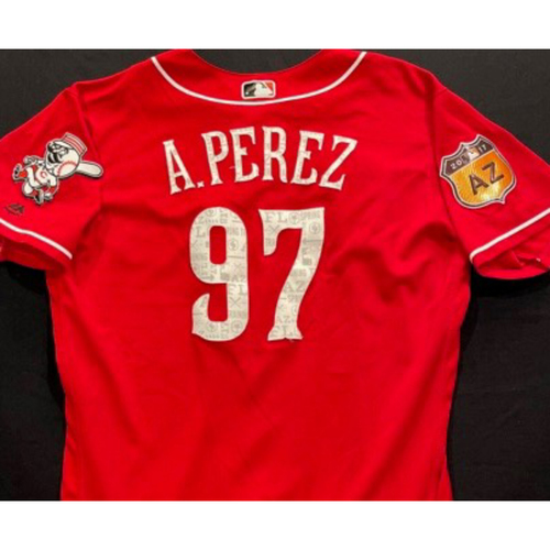 A. PEREZ -- Authentic Reds Jersey -- $1 Jersey Auction -- $5 Shipping -- Size 46 (Not MLB Authenticated)