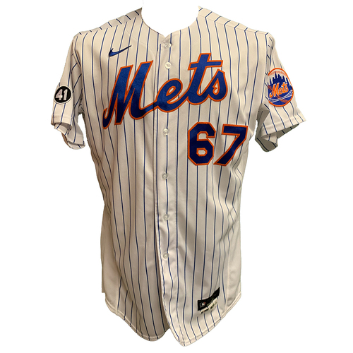 Photo of Seth Lugo #67 - Team Issued White Pinstripe Jersey with Seaver Patch - 2020 Season