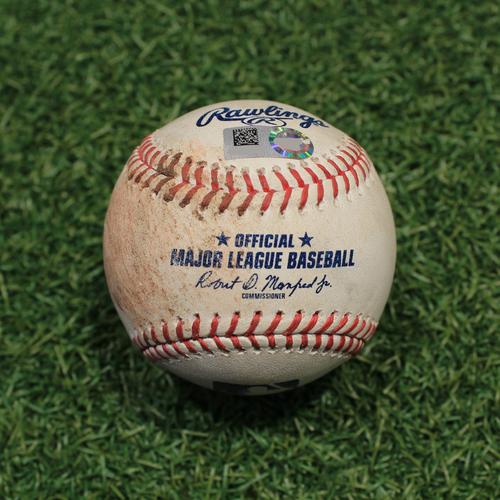 Photo of Game-Used Baseball: Luke Farrell 93rd Career Strikeout (MIN@KC 10/1/21)