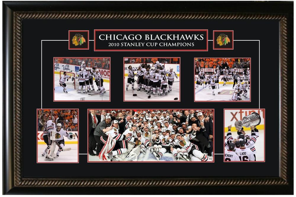 Chicago Blackhawks -  Framed Collage Etched Mat - 2010 Stanley Cup Celebration
