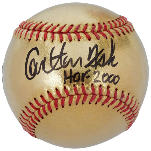 Photo of Carlton Fisk Boston Red Sox Autographed 24 Karat Gold Baseball with HOF 2000 Inscription