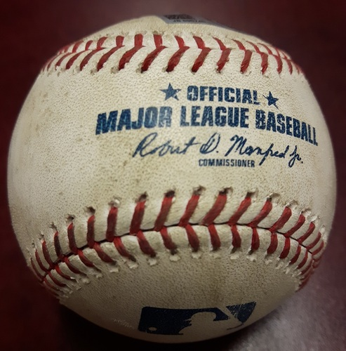 Photo of Authenticated Game Used Baseball - April 3, 2018 vs Chicago White Sox: Triple by Curtis Granderson against Miguel Gonzalez (Bottom 4)