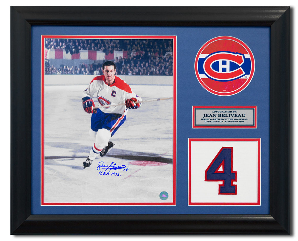 Jean Beliveau Montreal Canadiens Signed Retired Jersey Number 23x19 Frame