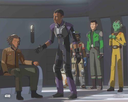Kazuda Xiono, Jarek Yeager, Tam Ryvora, Neeku Vozo, Marcus Speedstar and BB-8