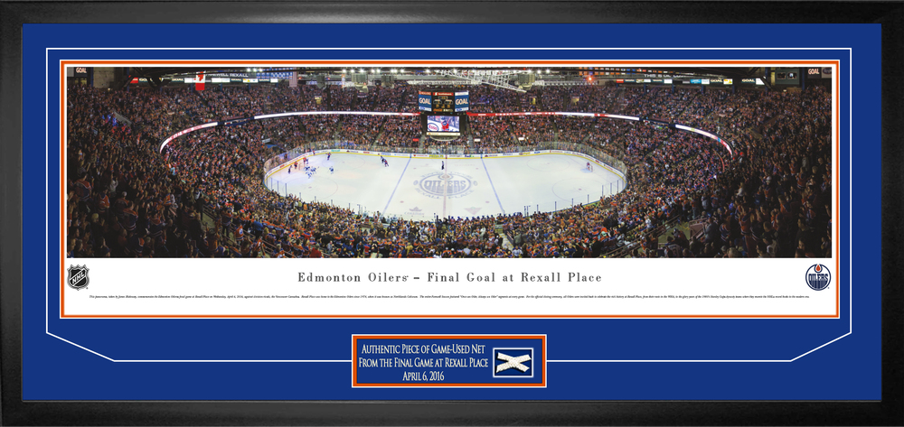 Rexall Place Final Game Framed Panorama with Game-Used Net
