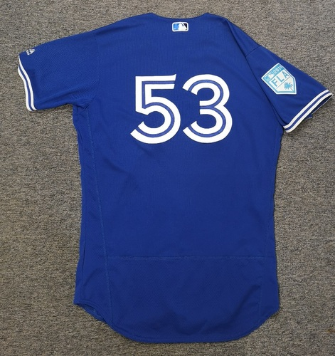 Photo of Authenticated Game Used 2019 Spring Training Jersey - #53 Mark Budzinski (Mar 25). Size 44