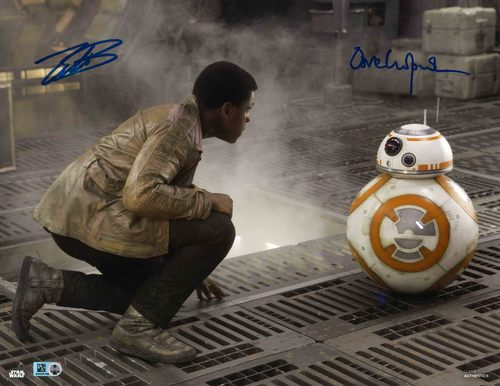 John Boyega and David Chapman as Finn and BB-8 8x10 Autographed in Blue Ink Photo