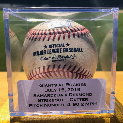 Photo of Colorado Rockies Game-Used Baseball - Pitcher: Jeff Samardzija, Batter: Ian Desmond (Strikeout) - July 15, 2019 vs San Francisco Giants
