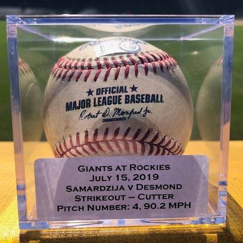 Colorado Rockies Game-Used Baseball - Pitcher: Jeff Samardzija, Batter: Ian Desmond (Strikeout) - July 15, 2019 vs San Francisco Giants