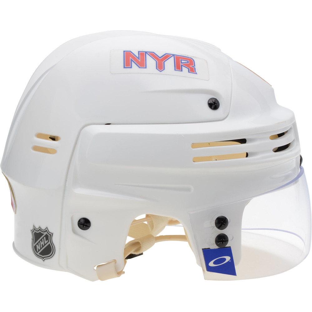 Brendan Lemieux New York Rangers Game-Used #48 White Bauer Helmet from the 2018-19 NHL Season