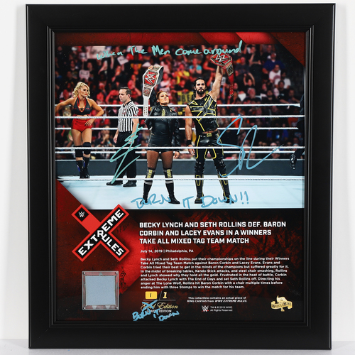 Becky Lynch and Seth Rollins SIGNED Custom BURN IT DOWN Edition Plaque (1 of 1)