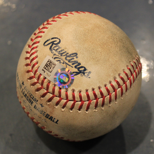 Photo of Game-Used Baseball: Cheslor Cuthbert Single off of Chris Sale (BOS @ KC - 6/5/19)