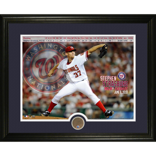 Photo of Serial #1! MLB Auctions Exclusive - Stephen Strasburg MLB Debut Game Used Dirt Commemorative Frame