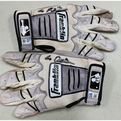 Photo of 2020 Cyber Monday Sale - #12 Alex Dickerson Autographed White & Black Franklin Batting Gloves
