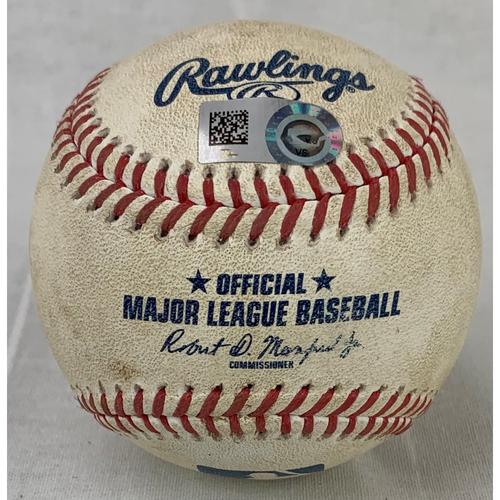 Photo of 2019 Game-Used Baseball - Pitcher: Justin Verlander, Batter: Jared Walsh - Career Strikeout# 2996 - 9/28/19