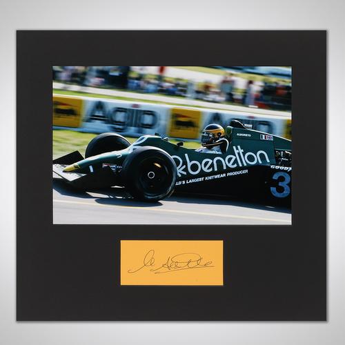 Photo of Michele Alboreto 1983 Signed Mounted Photograph - Detroit