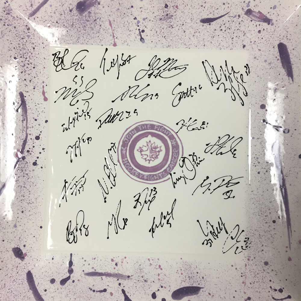 Team Autographed Hockey Fights Cancer Ceramic Platter