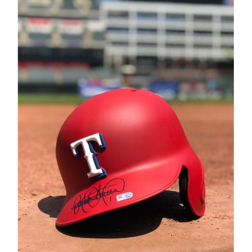 Photo of Elvis Andrus Autographed Authentic Matte Red Batting Helmet