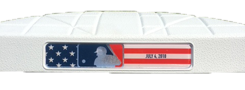 Photo of Game-Used 1st Base -- Innings 7 through 9 -- 4th of July -- Tigers vs. Cubs -- 7/4/18