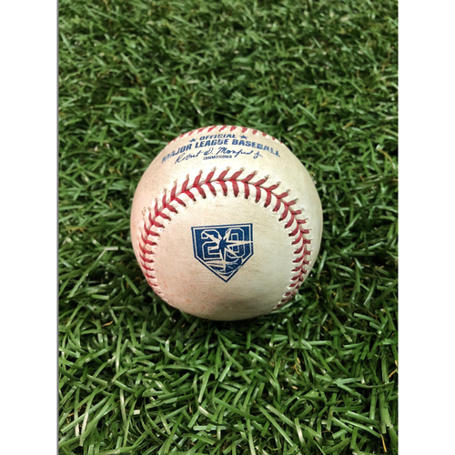 Photo of 20th Anniversary Game Used Baseball: J.D. Martinez RBI single off Jaleen Beeks - August 24, 2018 v BOS - Players Weekend