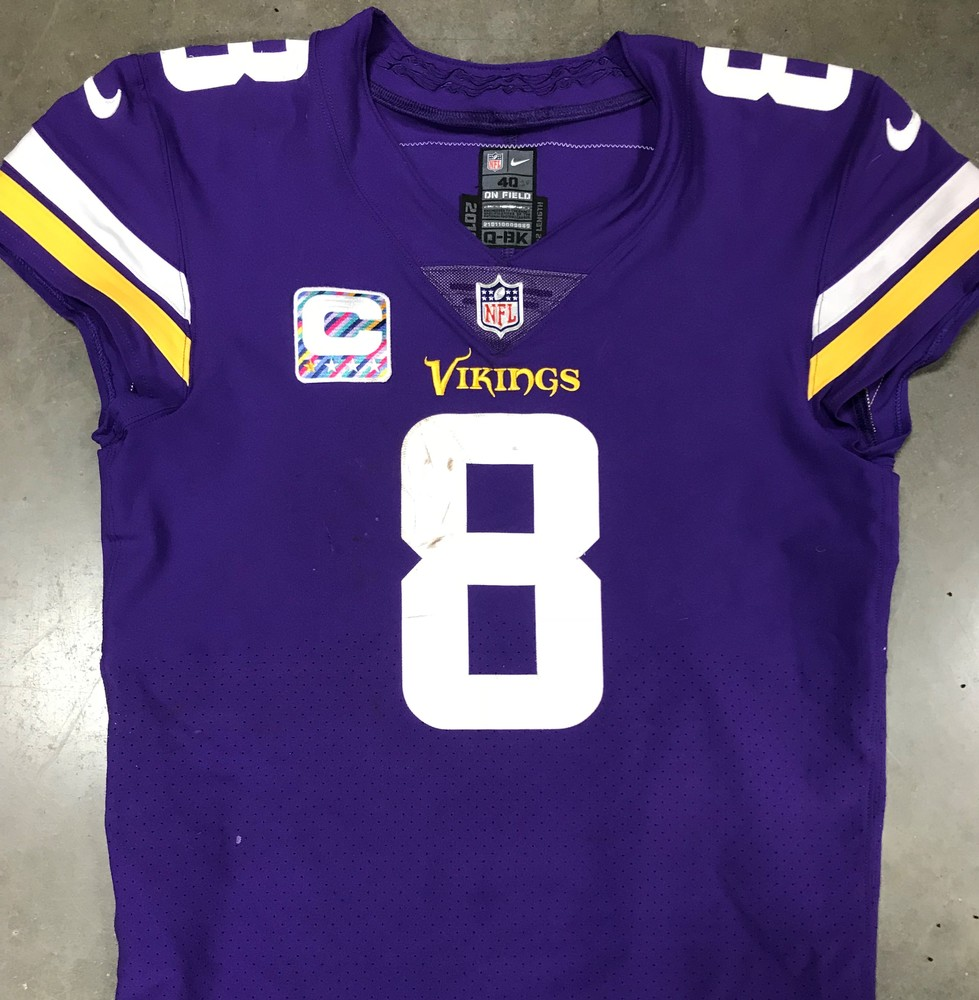 ... With Crucial Catch Captains Patch. Crucial Catch - Kirk Cousins GAME  WORN Vikings Jersey - 10 14 18 - bd6bc9fab