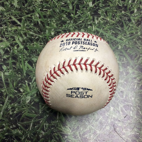 Photo of Game-Used Baseball NLCS Game 1 LAD@MIL 10/12/18 - Clayton Kershaw - Christian Yelich: Foul
