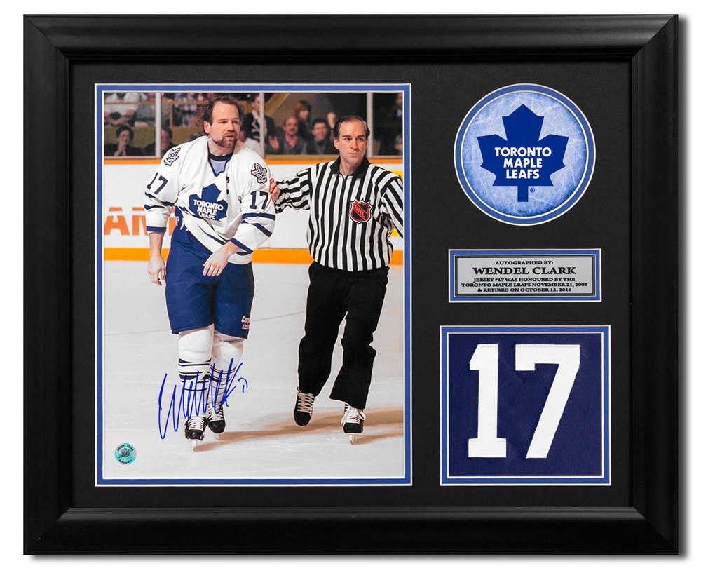 Wendel Clark Toronto Maple Leafs Signed Retired Jersey Number 23x19 Frame