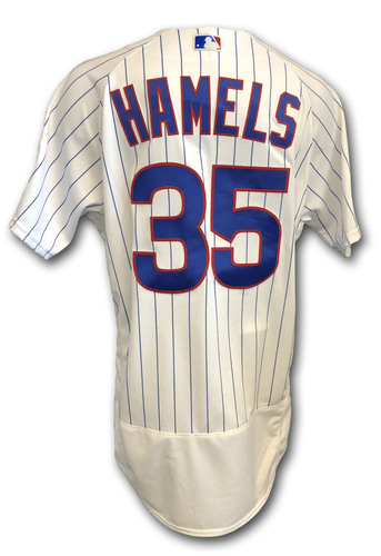 Photo of Cole Hamels Game-Used Jersey -- Rockies vs. Cubs -- 10/2/18 -- 2018 Postseason Wild Card -- 2.0 IP, 1 K