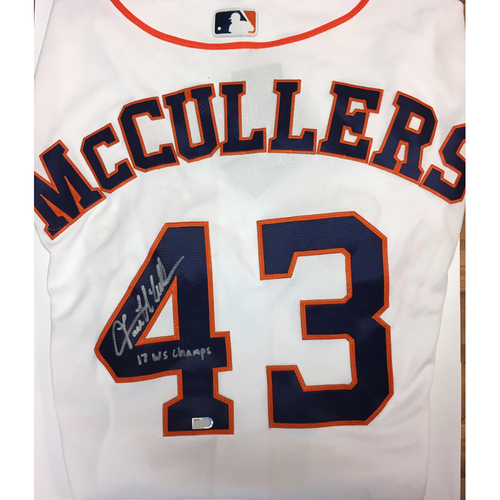 "Photo of Lance McCullers ""17 WS Champs"" Autographed Astros Jersey"